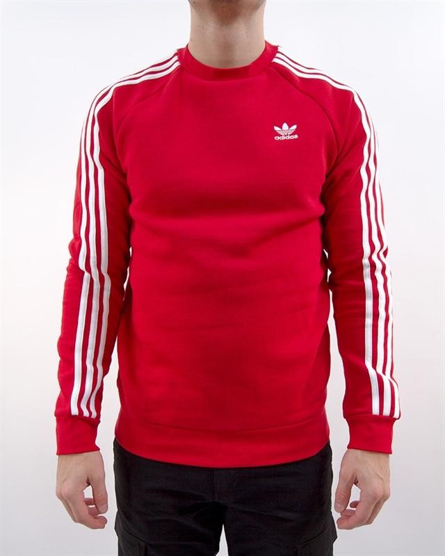 adidas Originals 3 Stripes Crew   DV1553   Röd   Kläder   Footish