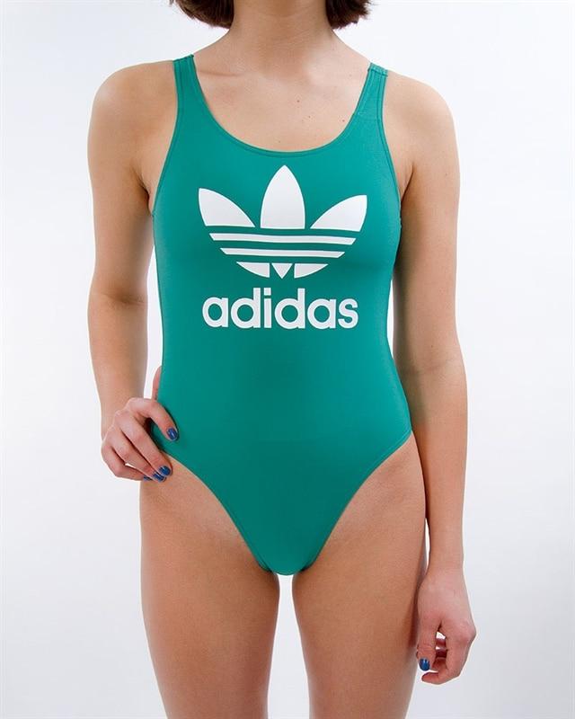 adidas Originals Trefoil Swimsuit | ED1055 | Green | Kläder | Footish