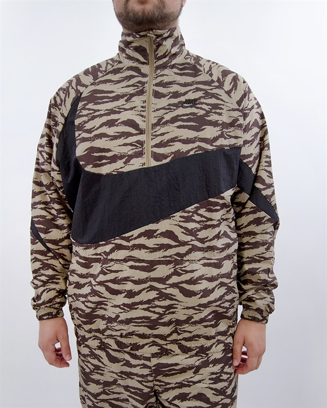 e809153e813b Nike NSW AOP Swoosh Woven Half Zip Jacket - AO0862-235 - Brown ...