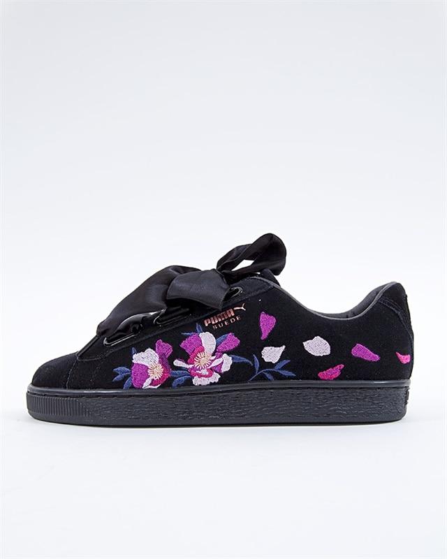 Puma Suede Heart Flowery Wns - 367811-01 - Black - Footish  If you ... 3edc9ab8a